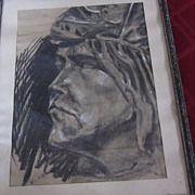 Original Framed Charcoal Drawing, Angular Male Profile, by Worth