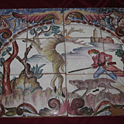 Portuguese Hand Painted Tile Scenic Plaque, Man Hunting Stag