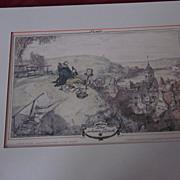 "Hand Tinted Stone Lithograph, ""Der Schoene Blick"", H. Stockmann"