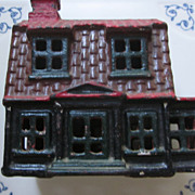 Cast Iron AC Williams Colonial House Still Bank, 95% Original Paint