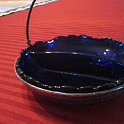 Sterling Silver Nut Dish, with Cobalt Glass Insert
