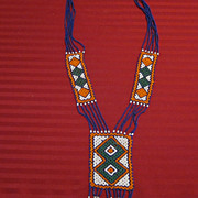 Vintage Navajo Hand Beaded Pendant Necklace