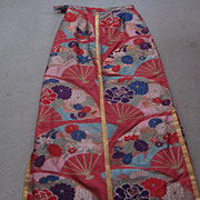 Japanese Embroidered Long Silk Skirt, Flower and Fan Motif