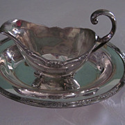 1847 Rogers Bros., I. S. Remembrance Gravy Boat and Under Tray