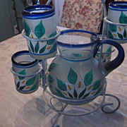 Mexican Hand Blown and Enameled Pitcher, 6 Glasses, and Rack