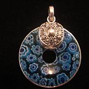 Blue Venetian Glass Sterling Silver Pendant