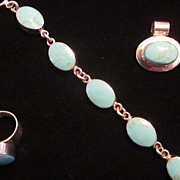 Mexican Turquoise, Sterling Silver Parure-Bracelet, Pendant, Ring