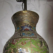 Chinese Champleve Enamel Brass Lamp