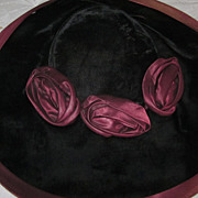 1930's Black Velvet Cartwheel Hat with Mauve Grosgrain Trim