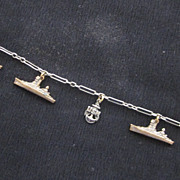 US Navy WWII Sweetheart Bracelet, Battleships, Sterling Silver