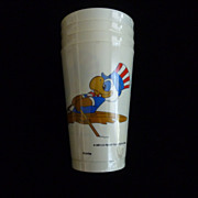 1984 Olympic  White Plastic Glasses Rowing, Set of 4, NRFP