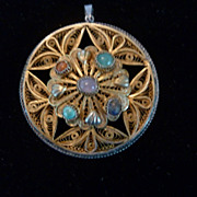 """Brass, Sterling Silver, and Stone Filigree Pendant, 2 1/2"""""""