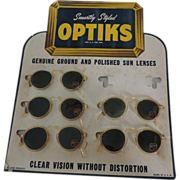 1940's-50's Optiks, 5 Pair Sunglasses on Original Display