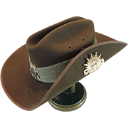 Australian Military Slouch Hat, Brown Felt, Mountcastle Pty Ltd, Size 55