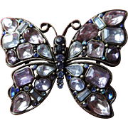 "Large, 2 3/8"" X 3"" Crystal, Open Back Butterfly Broach,"