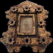 Latin American Folk Art, Hand Carved, Gilded Retablo