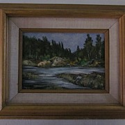 Small Framed Woods, Stream Oil Painting by Bonk