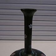 Vintage Cloisonne Indigo Blue and Moss Green Bud Vase