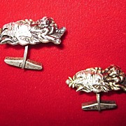 Vintage Sterling Silver Foo Dog and Flower Cuff Links
