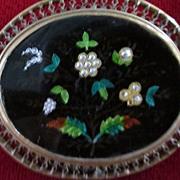 Vintage Enamel and Cloisonne Flower Brooch