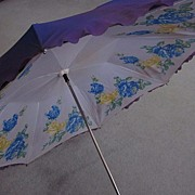 Purple Parasol with White, Blue Yellow Roses Lining