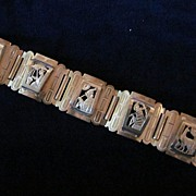 Hand Made Link Bracelet Showing Five Scenes of Inca Life