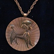 Large French Poodle Copper Pendant and Neck Chain