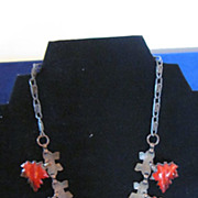 Copper Red and Black Enamel Oak Leaf Necklace