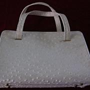 Chic de Paris Beige Ostrich Skin Hand Bag