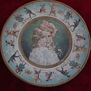 Union Pacific Tea Co. Advertising Tin Plate, Child's Snow Ball Fight