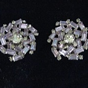 "Weiss Starburst Clear Crystal 1 1/2"" Clip Earrings"
