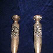 "Pair Heintz/SilverCrest Sterling on Bronze 9 1/2"" Candle Holders"