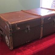 TGL Irish Suitcase/Steamer Trunk w/ Bentwood Trim