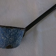 Blue and White Granite Ware Ladle with Black Handle