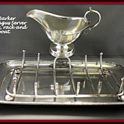 SALE Barker Ellis silver asparagus stand with serving tray, drainer and sauceboat