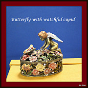 REDUCED Trinket box with butterfly, cupid, crystals, enamel and floral designs