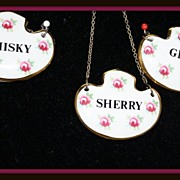 Decanter labels or liquor tags in porcelain by Royal Adderley