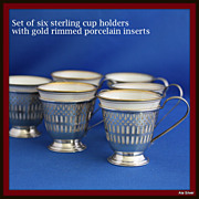 Demitasse cup holders in solid sterling silver with gold rimmed liners - set of six