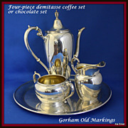 REDUCED Demitasse four piece coffee set in sterling by Gorham
