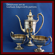 REDUCED Demitasse three-piece coffee set in solid sterling silver in Edgeworth pattern by ...