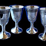 Sterling water goblets - Embossed