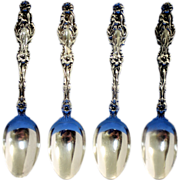 Lily sterling 5 o'clock spoons,set of four by Whiting, ca 1902