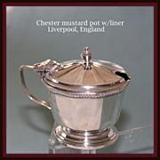SALE Chester mustard pot with cobalt liner