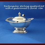 REDUCED Heavy rectangular shaped sterling mustard pot