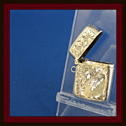Match safe or vesta in solid sterling with hand chasing and ring for pendant