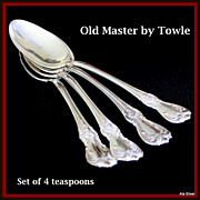 SALE Old Master set of four teaspoons in sterling by Towle Silversmiths