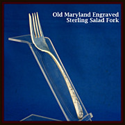 Old Maryland Engraved salad fork in sterling silver by Kirk Stieff Co