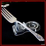 Rose Point cold meat fork in solid sterling by Wallace