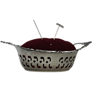 Pin cushion holder in sterling by Gorham