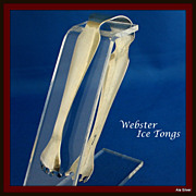 Webster tongs for ice or hors d oeuvres in solid sterling silver